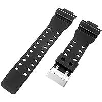 16mm Bracelet en résine noir compatible avec CASIO G-SHOCK Montre GA-100, GA-300, GA-120, ga-110C, GD-100, GAC-100, ga-120bb