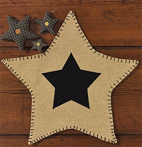 Burlap Star Accent Doily Mat - Black Star, Stiched Edge - Cute Country Gift Idea - 16