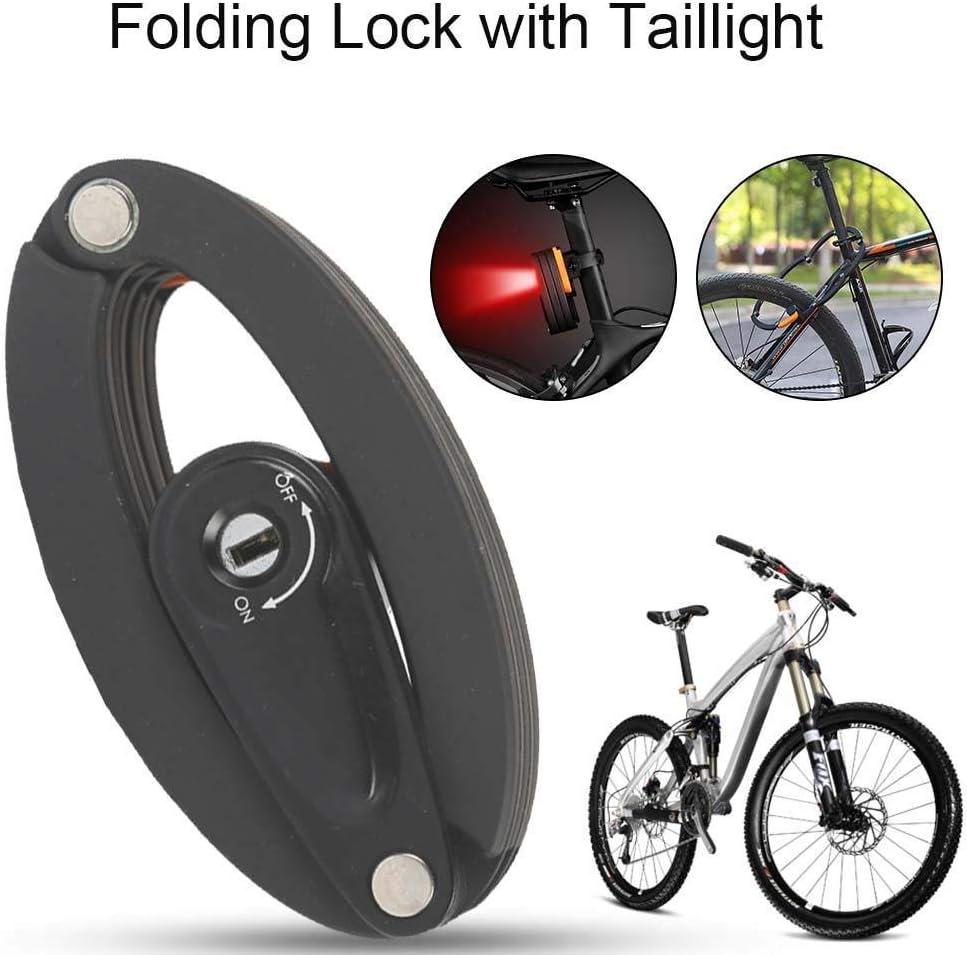 ZDW Bicicleta plegable de la cerradura Alarma impermeable candado de bicicleta compacta con luz trasera conveniente para el plegado el/éctrico Ciclo de bicicletas de monta/ña de la motocicleta Etc