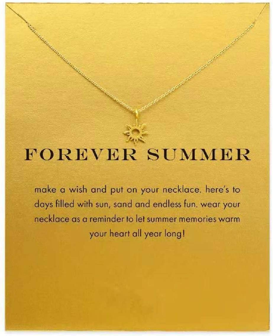 GUGELIVES Friendship Sun God Light Clavicle Necklace with Blessing Card,Small Dainty Gold Pendant Necklace for Women Gift Card
