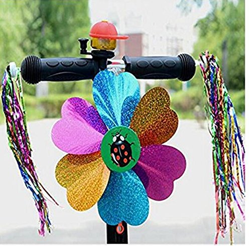 5 Kinds Of Bicycle Accessories Kid's Children Bike Scooter Bell Ring Mirror Flower Pinwheel Star Handlebar Streamers Colour Ribbons Grips Sparkle Tassel Bike Carrier Parts by ASTRQLE (Image #3)