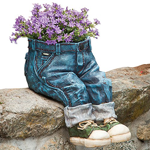(Bits and Pieces-Decorative Denim Planter-Polyresin Jeans Sculpture - Fun Flower Pot)