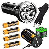 FENIX TK75 2018 version 5100 Lumen CREE LED Flashlight, 4 X Fenix 18650 ARB-L18-3400 rechargeable batteries, with four EdisonBright CR123A lithium batteries bundle