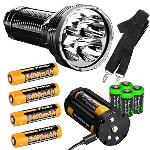 (FENIX TK75 2018 version 5100 Lumen CREE LED Flashlight, 4 X Fenix 18650 ARB-L18-3400 rechargeable batteries, with four EdisonBright CR123A lithium batteries bundle)