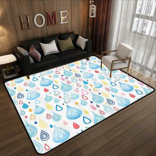 - Durable Rubber Floor Mat,Home Decor,Various Doodle Style Large and Small Heavy Rain Drops Fluid Squall Graphic Art Print,Multi 35