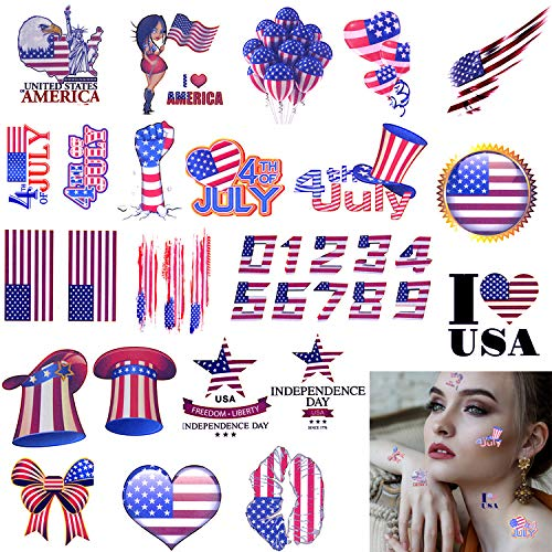 Xgood Patriotic Tattoos 4th of July Temporary Tattoo Stickers Independence Day Stickers Independence Day Theme Party Accessories Colorful Washable Tattoos Stickers for Kids,Adults -