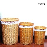 TSAR003 Pure hand rattan laundry basket or hamper with lid dirty clothes toy debris collection 3 sets (L + M + S) , Yellow
