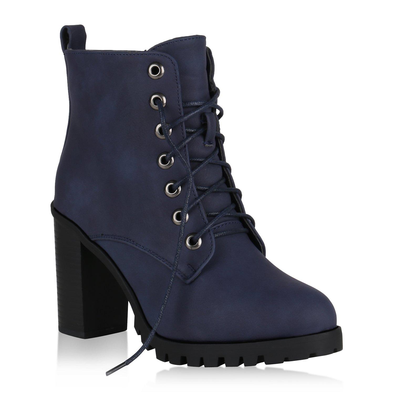 Stiefelparadies Damen Schnürstiefeletten Gefüttert Flandell Dunkelblau 2018 Letztes Modell  Mode Schuhe Billig Online-Verkauf