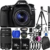 Canon EOS 80D DSLR Camera Bundle with 18-55mm f/3.5-5.6 IS STM Lens & EF 75-300mm f/4-5.6 III Lens, Deluxe Backpack and Accessory Kit (33 Items)