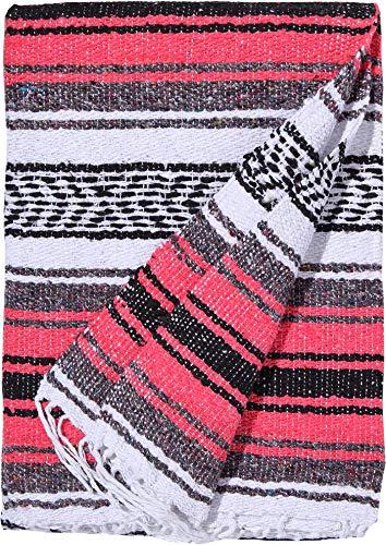 El Paso Designs Genuine Mexican Falsa Blanket - Yoga Studio Blanket, Colorful, Soft Woven Serape Imported from Mexico (Bright Coral) by El Paso Designs (Image #1)