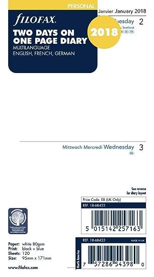Filofax 000018 68423 Personal 2 Days Per Page Calendar (M) – 2018