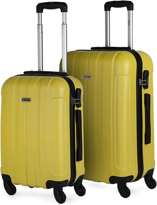 ITACA - Juego Maletas de Viaje Rígidas 4 Ruedas Trolley 55/65 cm ABS. Resistentes y Ligeras. Asas Candado. Pequeña Cabina Low Cost Ryanair y Mediana. Estudiante. 771115, Color Amarillo