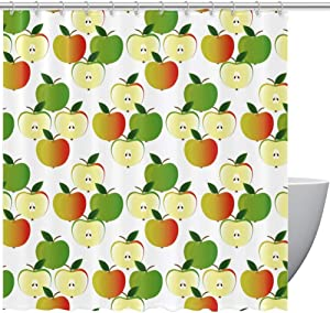 Shower Curtain with Hooks, Cute Fruit Apple Green Orange Pattern Bathroom Fabric Curtains Waterproof Funny with Standard Size 72 by 72