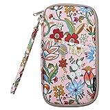 Travel Passport Wallet, Yeiotsy Vintage Flowers Travel Passport Holder Exotic Document Case for Girls (Pink)