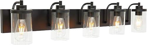 TODOLUZ 5-Lights 40 Inches Length Black Bathroom Wall Lighting Fixtures Over Mirror