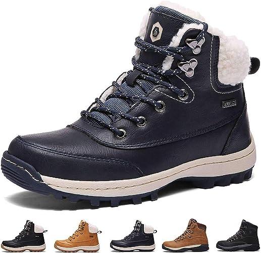 Bottes Homme Neige Hiver Antidérapant Chaussures de Chaudes Fourrees Mode Bottine Femmes en Simili Cuir Boots de Confort Trekking Alpinisme de