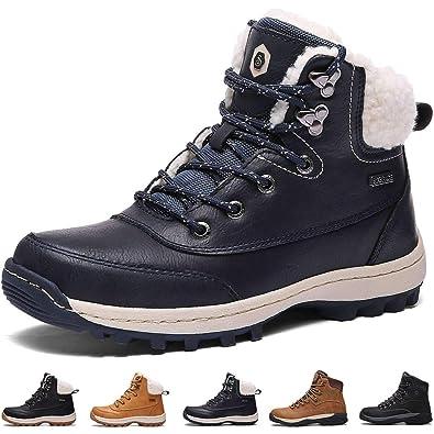 07eeee130f51f8 Bottes Fourrees Femmes Neige Hiver Antidérapant Chaussures Caoutchouc de  Chaudes ImperméAbles Mode Bottine Hommes en Cuir
