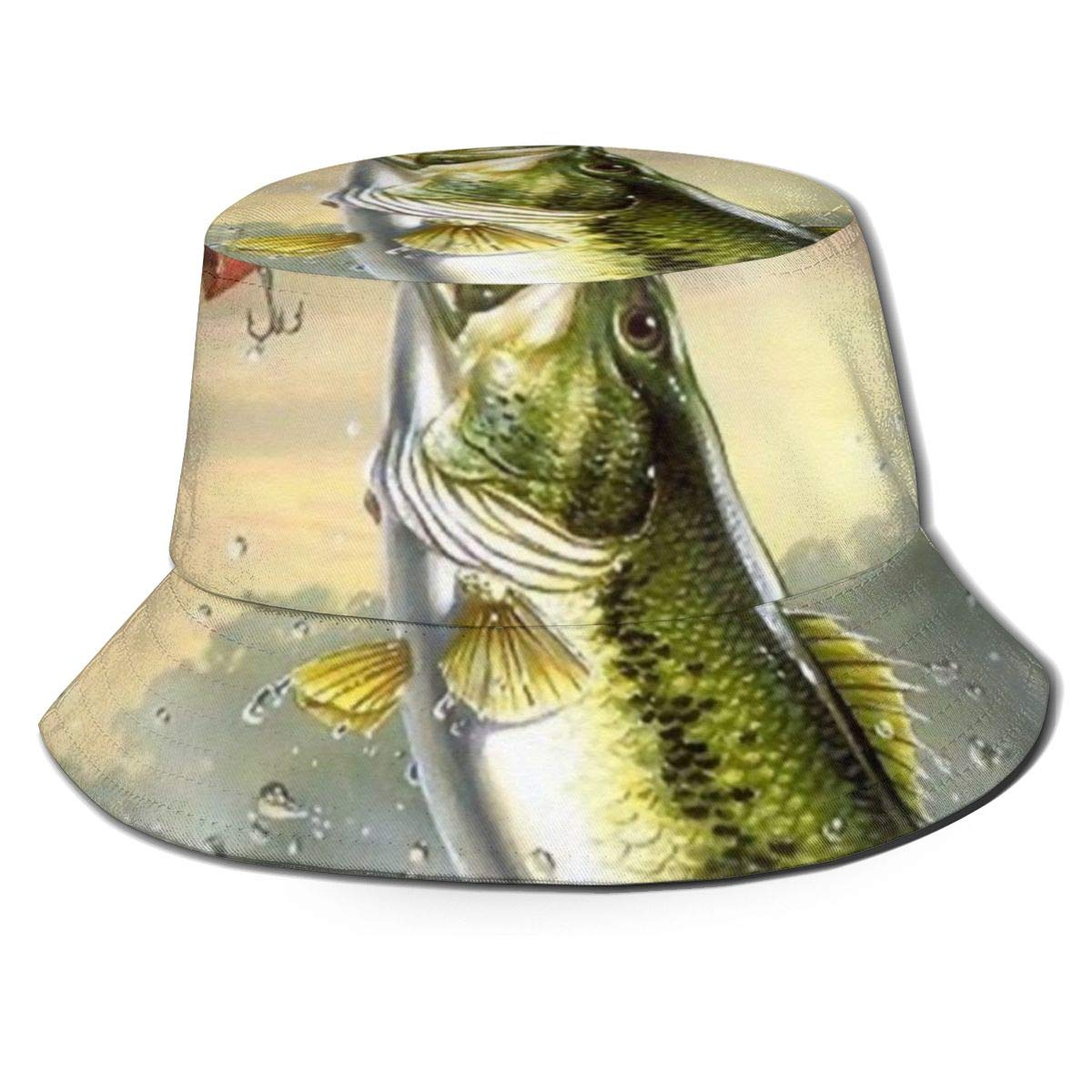 Mens and Womens 100/% Polyester Largemouth Bass Bass Jumping Out of Water Mesh Hat Cool Snapback Hat for Unisex