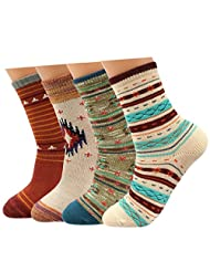 kilofly Mix & Match Colorful Cotton Crew Socks Value Pack, Set of 4 Pairs