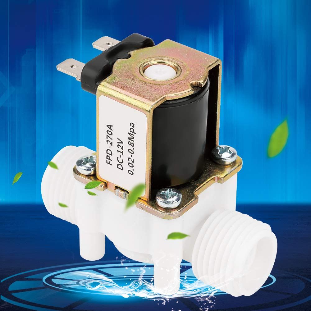 12V G1//2 NC Electric Solenoid Valve,Water Inlet Flow Switch Inlet Flow Switch Metal Plastic