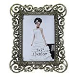 Gift Garden 5x7 Picture Frame Antique Metal Photo Frames 5 by 7 Inch Tabletop Display