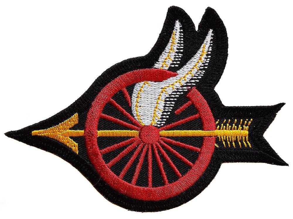 Fleche ecusson Moto Aile Roue Canon Biker thermocollant 10, 5x8cm patche Insigne Motard