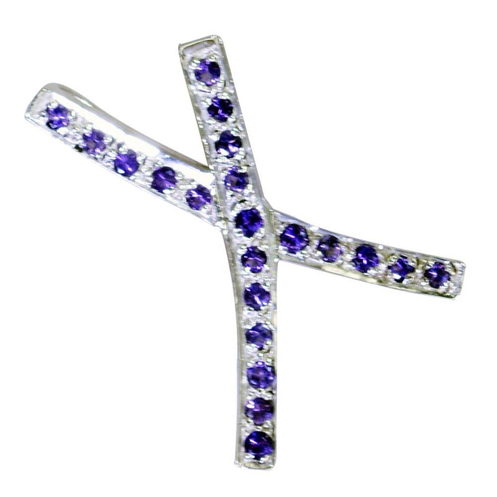 CaratYogi Real Amethyst Charm Cross 925 silver Birthstone pendant For Women February Chakra Healing Round