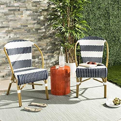 - Safavieh PAT4009A-SET2 Outdoor Collection Sarita Navy and White Striped French Bistro Stacking Side Chair