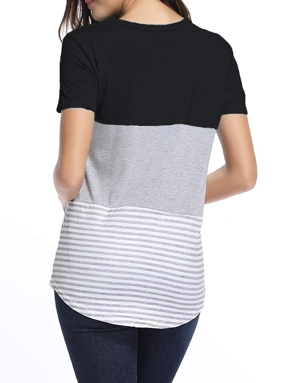 Amazon.com: kigod blusa de manga corta para mujer, cuello ...