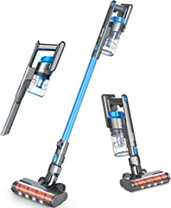 LEVOIT Cordless Vacuum, Ultra Lightweight 4 in 1 Stick Cleaner with Full-Size LED Light, 40min-Running for Home Hard Floor Pet Car, Blue & Gary