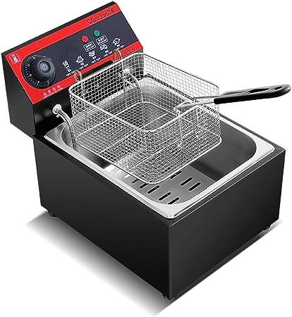 frying pan Freidora Comercial Tipo T, Freidora De 2.500 W con Gancho, Freidora Eléctrica De Acero Inoxidable con Temperatura Ajustable, con Tapa (Negra): Amazon.es