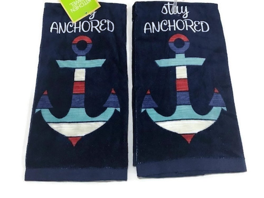 Ritz Stay Anchored Stripe Woodgrain Kitchen Towel Dish Towel 2 pack set