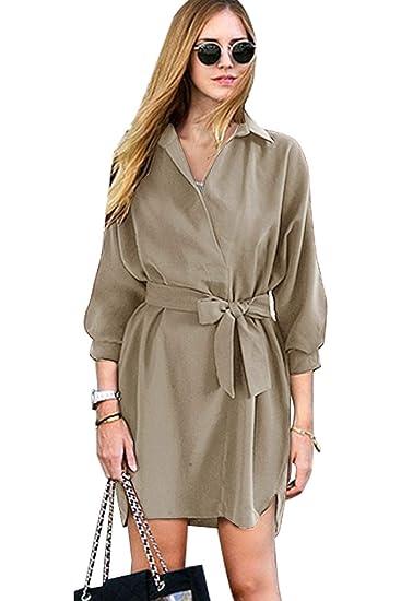 af8f435b926c Vestito Camicia Donna Elegante Mini Abiti con Cinturino Fiocco Vestiti  Manica Tre Quarti Estivi Autunnali Abito Asimmetrico Irregolare Orlo Tunica  Stile ...