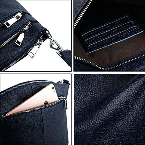 Cruza Triple Mano Genuino De Azul Dark Bolsa Mujer Cuerpo Zipper Casual Arriba Cuero De Estilo Negro Bolso Yaluxe Con Saco Asa vqwaE0x