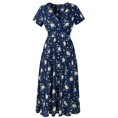 7e9b00b5594 Beautyfine Womens Cute Slim Sexy V Neck Floral Printed Summer Dress ...