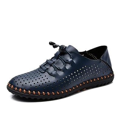 Été Sandales Hommes Cuir Décontracté Respirant Chaussures De Trou Sandales