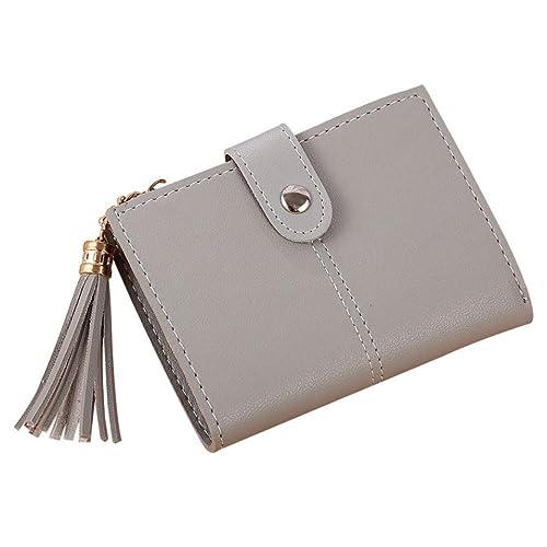 6adad48c158ab Geldbörse Damen Leder mit RFID Schutz kompaktes Portemonnaie Brieftasche  Portmonee vintage Damen Einfache kurze Brieftasche Quaste