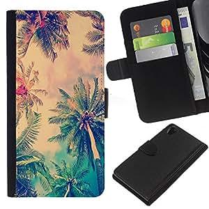 KLONGSHOP // Tirón de la caja Cartera de cuero con ranuras para tarjetas - Jamaica Palmera Coco Summer - Sony Xperia Z2 D6502 //
