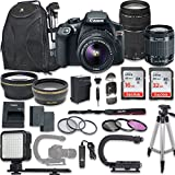Canon EOS Rebel T6 Video Digital SLR Camera Kit EF-S 18-55mm EF 75-300mm Zoom Lenses + Backpack Case + 48Gb Memory + Filters + Auxiliary Lenses + U-Grip Stabilizing Handle + More