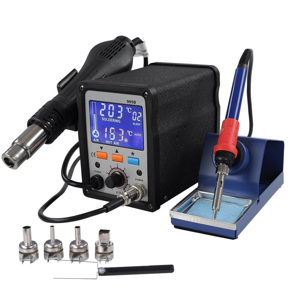 2in1 Lead Free SMD Hot Air Rework Iron Soldering Station Digital Welding Blue Backlight LCD Display Auto ESD Design w/ Plastic Holder for Power Electronic Equipment Repair Tool Appliance Solder