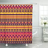 TOMPOP Shower Curtain Brown Pattern Bright in Tribal Orange Africa South Southwest Waterproof Polyester Fabric 72 x 72 Inches Set with Hooks