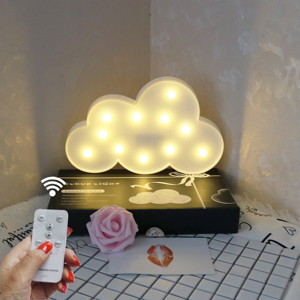 DELICORE Battery Operated Night Light LED Marquee Sign with Wireless Remote Control for Kids' Room, Bedroom, Gift, Party, Home Decorations(White Cloud)