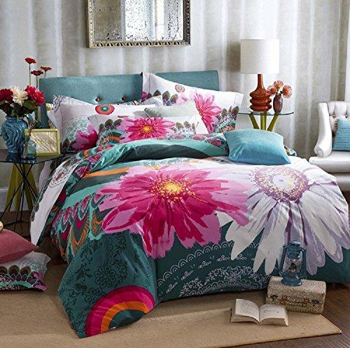4-Piece Bohemian Set Gorgeous Jasmine 100% Cotton Printed Bedding Duvet Cover Flat Sheet and Pillowcases Set Queen