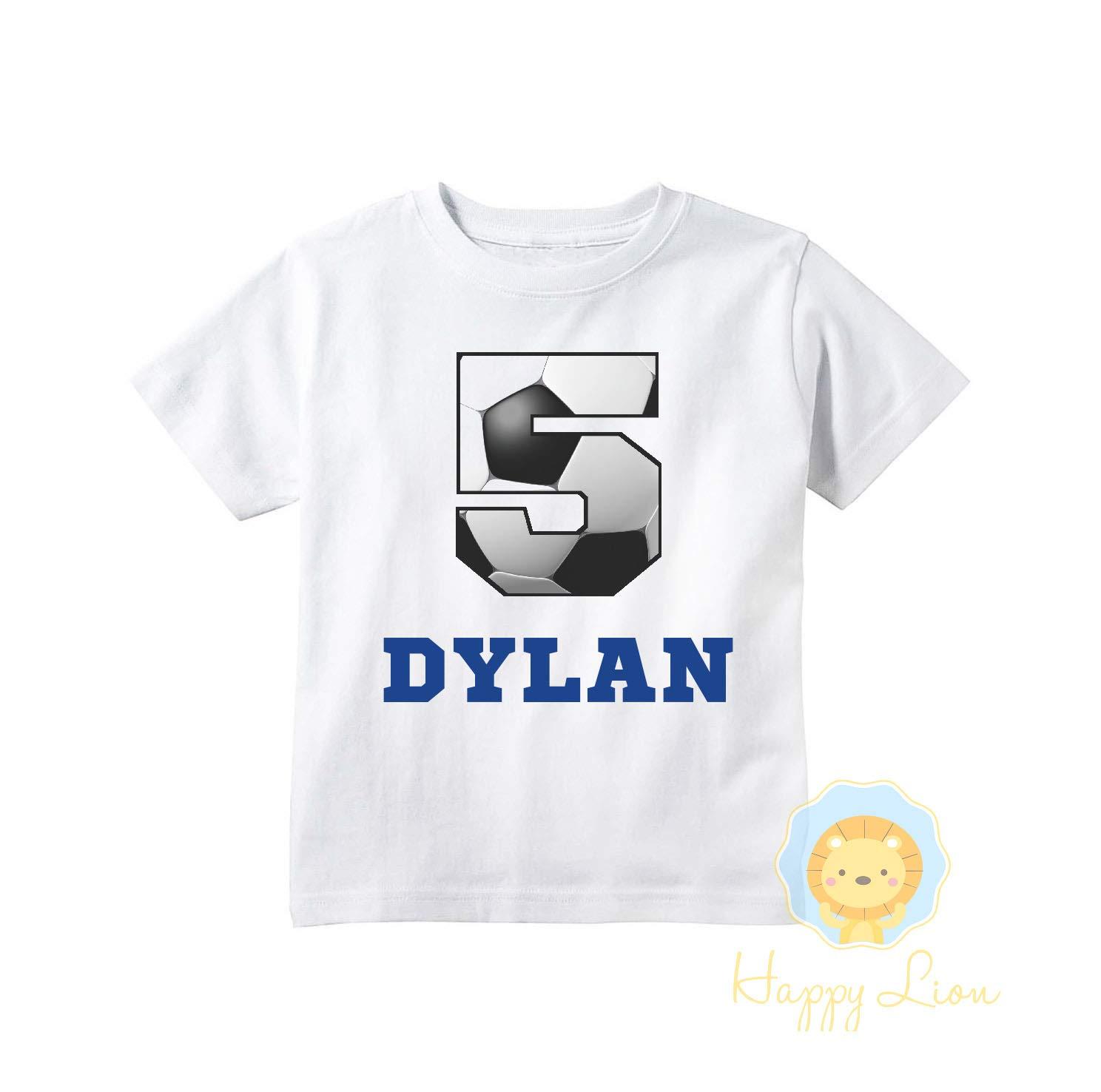 Sports birthday shirt Personalized Soccer birthday shirt for boys Happy Lion Clothing