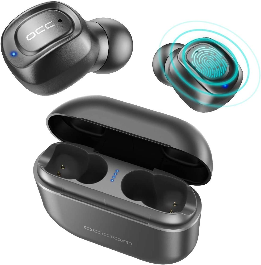 Bluetooth Headphones 5.0, Occiam Touch Control True Wireless Earbuds 72H Playtime Binaural in-Ear IPX7 Sweatproof Sport Headsets with Built-in Mic Stereo Sound 2200mAh Charging Case