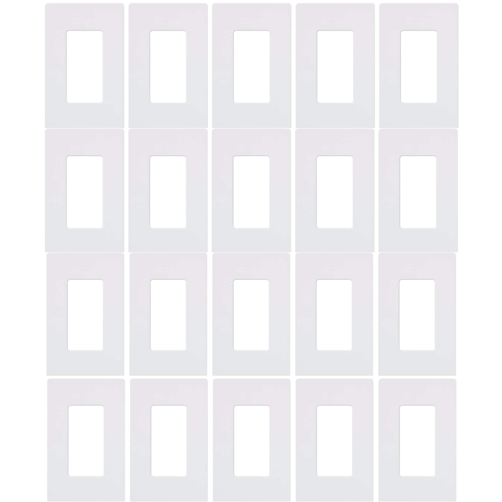 Lutron CW-1-WH 1-Gang Claro Screw-Less Wall Plate, White (20 Pack)