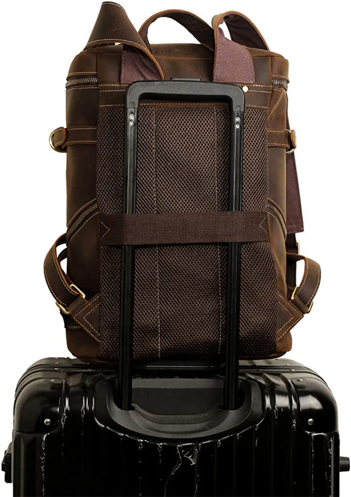 Vints Mens Vintage Cowhide Leather Backpack Rucksack School Book Bag Travel Weekender Tote Daypacks Shoulder Bag Fits 15.6 Inch Laptop Computer