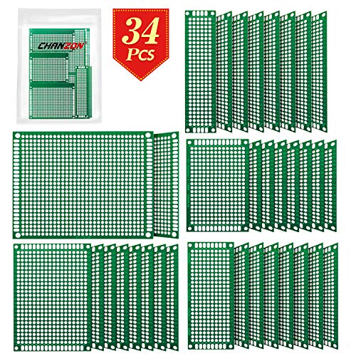 Chanzon 34 Pcs Double Sided PCB Board Tinned Through Holes (5 Sizes 2X8 3X7 4X6 5X7 7x9) Prototype Kit FR4 Printed Universal Circuit Perfboard for DIY Soldering Project Compatible with - Board Prototype