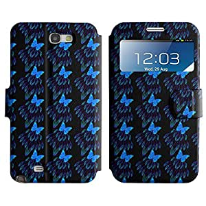 LEOCASE mariposa azul Funda Carcasa Cuero Tapa Case Para Samsung Galaxy Note 2 N7100 No.1003841