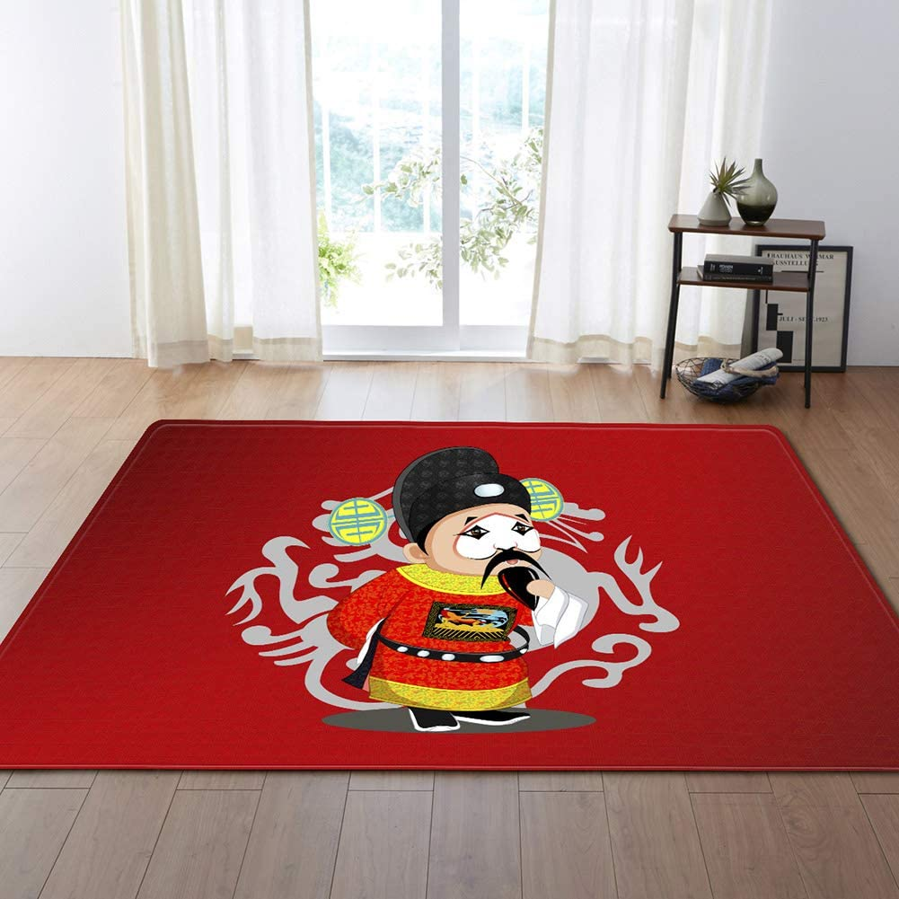 Chinese Classical Beijing Peking Opera Red Rugs Area Rugs for Indoor Floor Living Room Kitchen Bedroom Bathroom Non-Slip Carpet Healthy Carpets,D,62.9x110.2inch/5.2ftx9.1ft